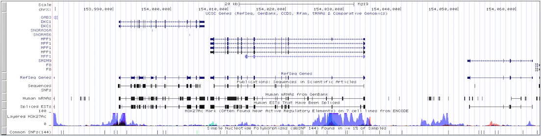 Genome Browser default gene track